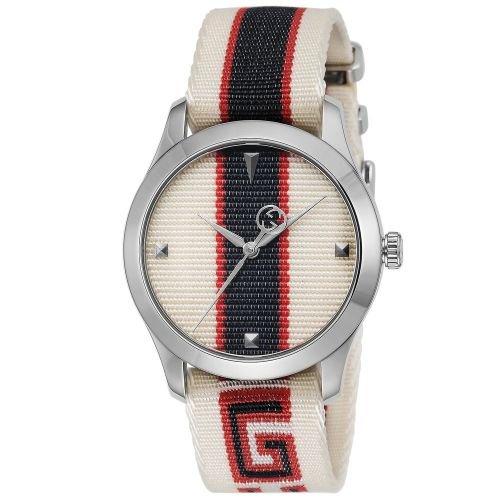 グッチ/腕時計/メンズ/G-Timeless|G-タイムレス/YA1264071/ホワイト レッド ブルー×マルチカラーナイロンベルト