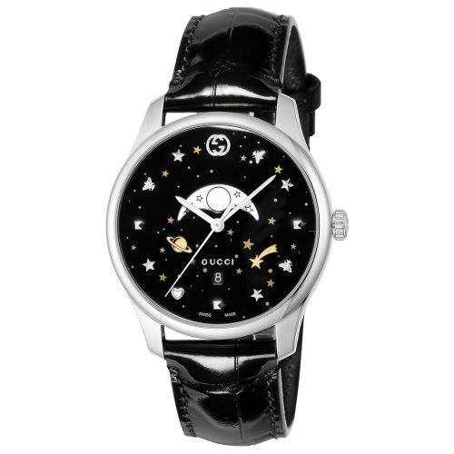 グッチ/腕時計/メンズ/G-Timeless|G-タイムレス/YA126327/ムーンフェイズ/ブラック×ブラックアリゲーターレザーベルト