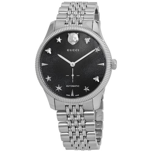 グッチ/腕時計/メンズ/G-Timeless|G-タイムレス/YA126353/自動巻き/ブラック×シルバーステンレスベルト