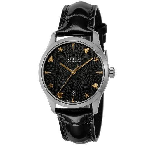 グッチ/腕時計/レディース/G-Timeless|G-タイムレス/YA126469A/カレンダー/ブラック×ブラックレザーベルト