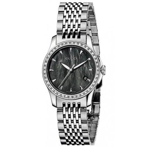 グッチ/腕時計/レディース/G-Timeless G-タイムレス/YA126507/ダイヤモンド/カレンダー/ブラックマザーオブパール×シルバーステンレスベルト