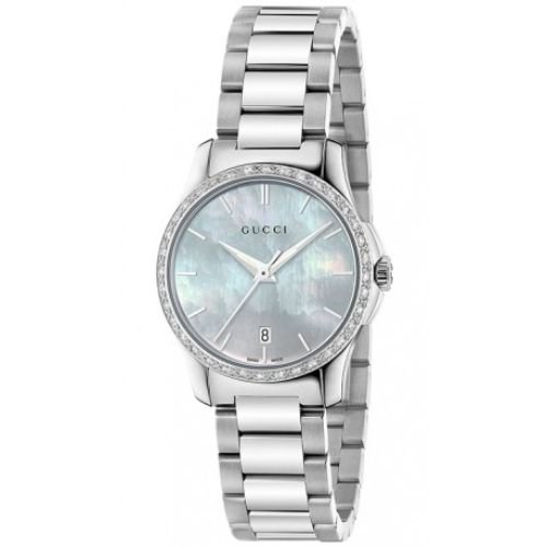グッチ/腕時計/レディース/G-Timeless G-タイムレス/YA126525/ダイヤモンド/カレンダー/マザーオブパール×シルバーステンレスベルト