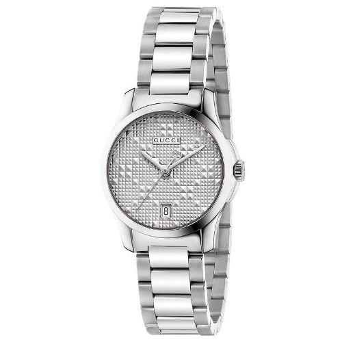 グッチ/腕時計/レディース/G-Timeless G-タイムレス/YA126551/カレンダー/シルバー×シルバーステンレスベルト