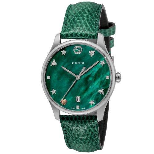 グッチ/腕時計/レディース/G-Timeless G-タイムレス/YA1264042/カレンダー/グリーンマザーオブパール×グリーンリザードレザーベルト