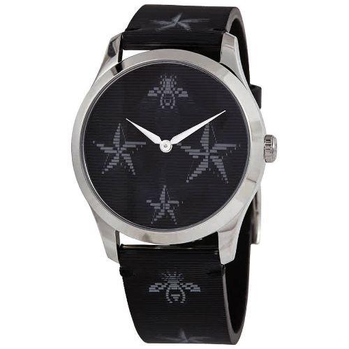 グッチ/腕時計/レディース/G-Timeless G-タイムレス/YA1264105/ブラック×ブラックレザーベルト