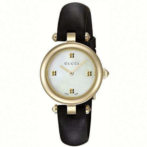 グッチ/腕時計/レディース/Diamantissima|ディアマンティッシマ/YA141505/マザーオブパール×ブラックレザーベルト