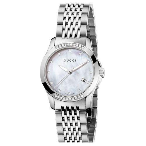 グッチ/腕時計/レディース/G-Timeless|G-タイムレス/YA126510/カレンダー/ダイヤモンド/マザーオブパール×シルバーステンレスベルト
