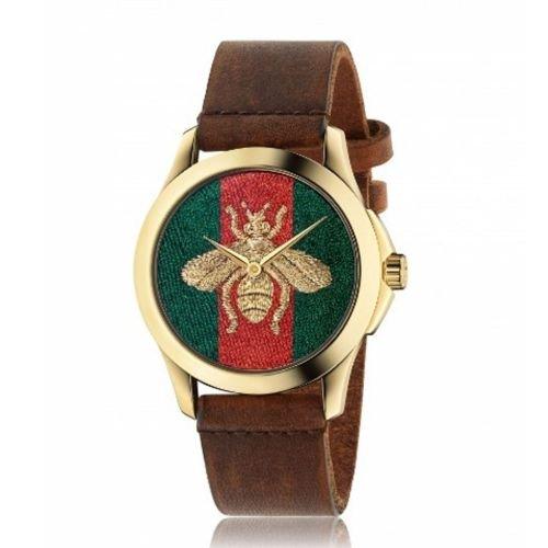 グッチ/腕時計/ユニセックス/G-Timeless|G-タイムレス/YA126451A/マルチカラー×ブラウンレザーベルト