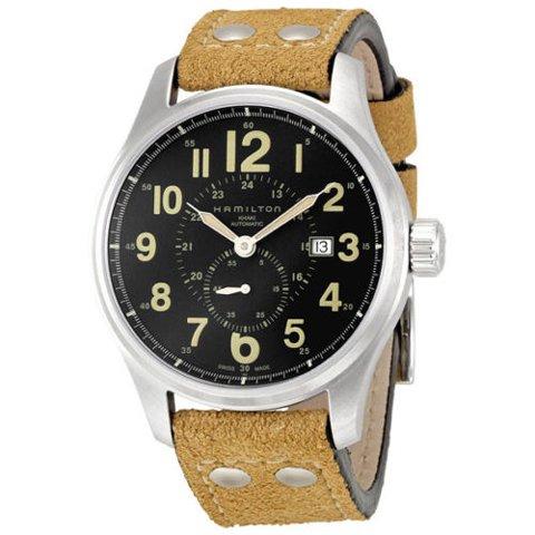 ハミルトン 腕時計 カーキ オフィサー オート H70655733 ブラック×ブラウン