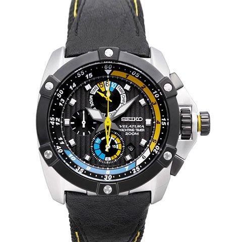 セイコー 逆輸入 ベラチュラ 腕時計 SPC049 ヨットタイマー ブラックレザーベルト