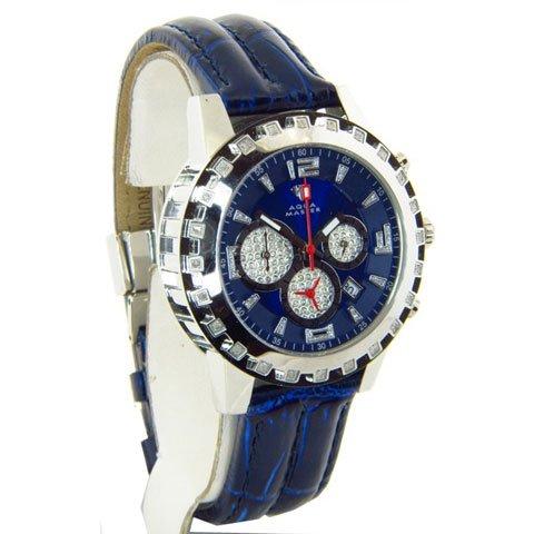 アクアマスター 腕時計 W151 ブルーレザーバンド ダイヤモンドウォッチ
