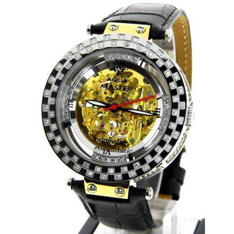 アクアマスター 腕時計 自動巻き W314-1 ゴールド スケルトンダイヤル 1.25カラット