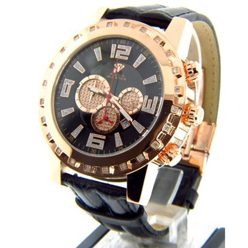 アクアマスター 腕時計 W138 ブラック×ローズゴールド×ブラックレザーベルト