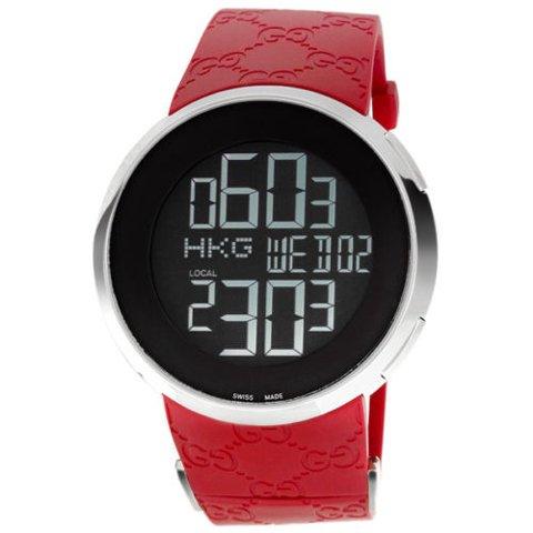 グッチ 腕時計 I-グッチ デジタルワールドタイム YA114212 レッドラバー