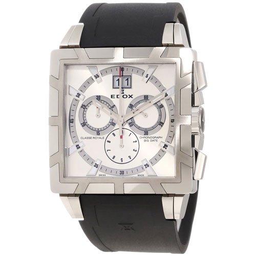 エドックス 腕時計 クラスロイヤル 01504-3-AIN クロノグラフ レトログラード シルバー×ブラックラバーベルト