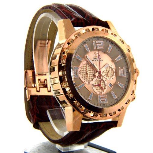 アクアマスター/Aqua Master 時計 W138 ダイヤモンドウォッチ ローズゴールドダイアル×ブラウンレザーベルト