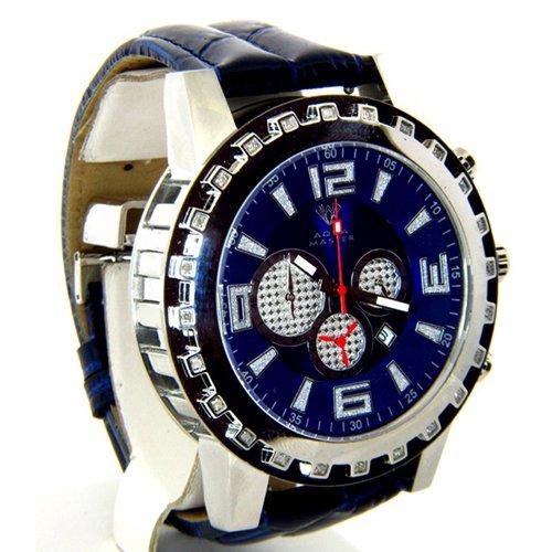 アクアマスター/Aqua Master 時計 W138 ダイヤモンドウォッチ ブルーダイアル×ブルーレザーベルト