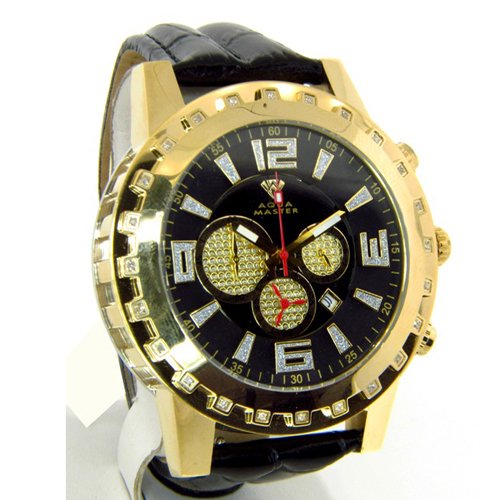 アクアマスター/Aqua Master 時計 W138 ダイヤモンドウォッチ ブラックダイアル×ブラックレザーベルト