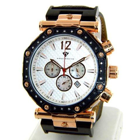 アクアマスター 腕時計 W147 シルバー×ローズゴールド×ブラックレザーベルト