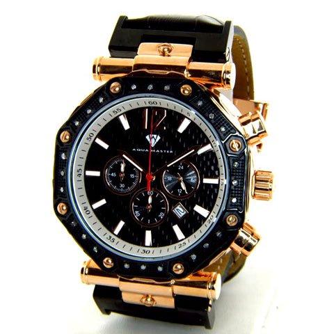 アクアマスター 腕時計 W147 ブラック×ローズゴールド×ブラックレザーベルト