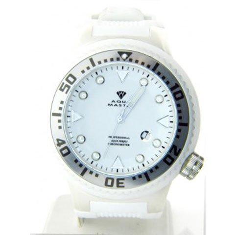 アクアマスター 腕時計 W313 クロノメーター ホワイトダイヤル ホワイトラバーバンド