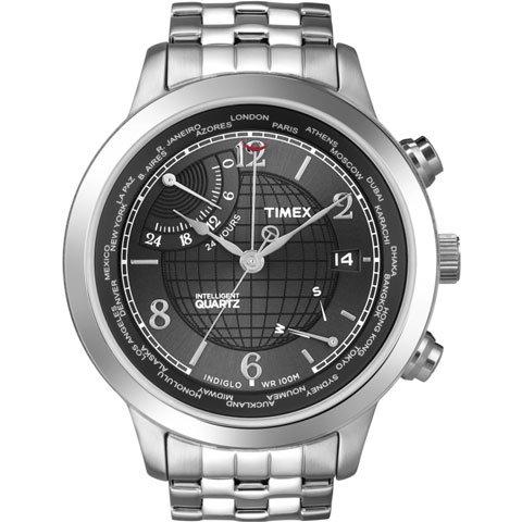 タイメックス 腕時計 インテリジェント クオーツ ワールドタイム T2N610 ブラック×ステンレススチールベルト