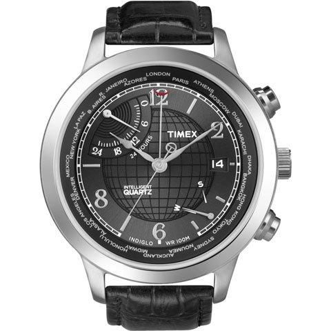 タイメックス 腕時計 インテリジェント クオーツ ワールドタイム T2N609 ブラックレザーベルト