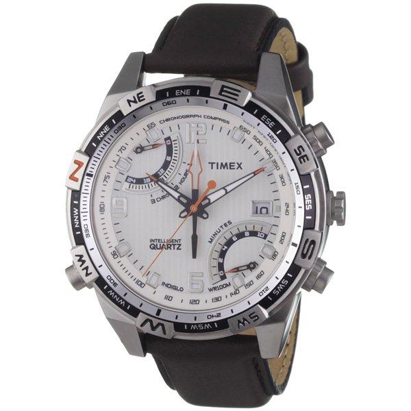 タイメックス 腕時計 インテリジェントクォーツ フライバック T49866 ホワイト×ブラウンレザーベルト
