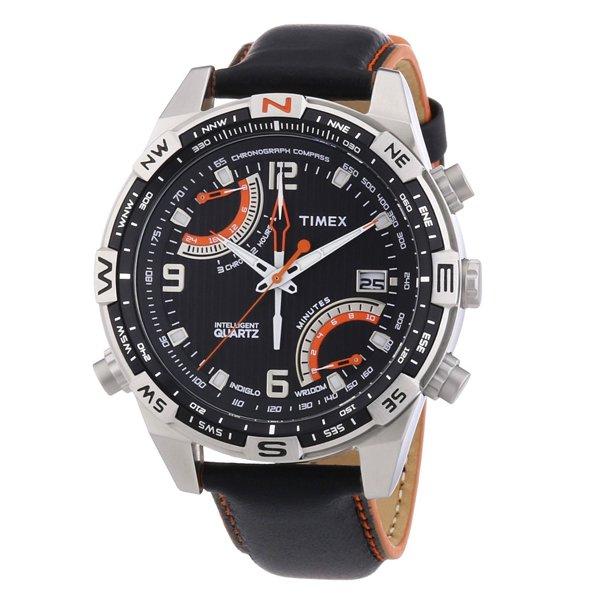 タイメックス 腕時計 インテリジェントクオーツ フライバック T49867 ブラックレザーベルト
