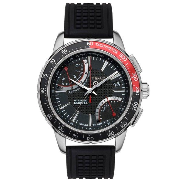 タイメックス 腕時計 インテリジェントクオーツ フライバック クロノグラフ T2N705 ブラックラバーベルト