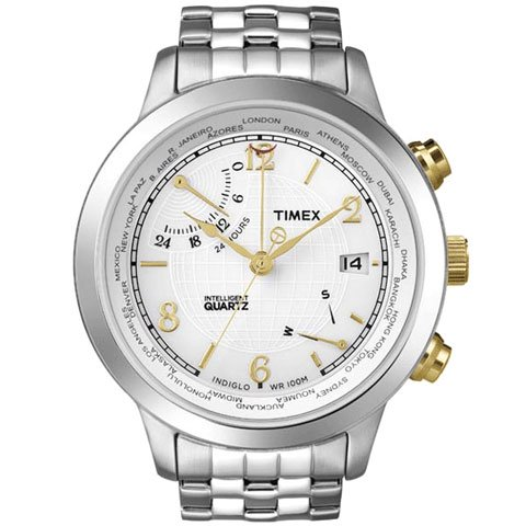 タイメックス 腕時計 インテリジェントクオーツ ワールドタイム T2N613 ホワイト×ステンレススチールベルト
