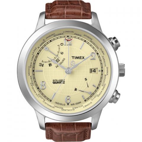 タイメックス 腕時計 インテリジェントクオーツ ワールドタイム T2N611 ベージュ×ブラウンレザー