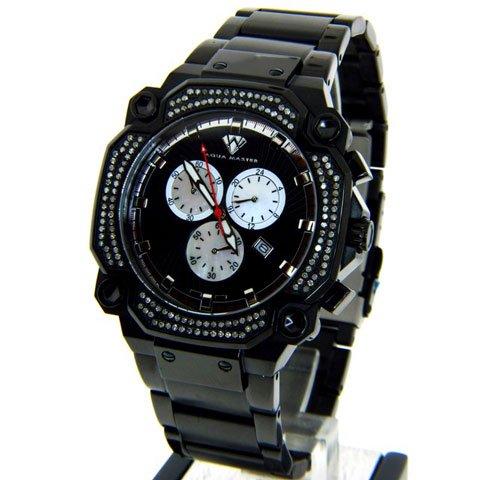アクアマスター 腕時計 W142 1,30カラット ブラックステンレススチール
