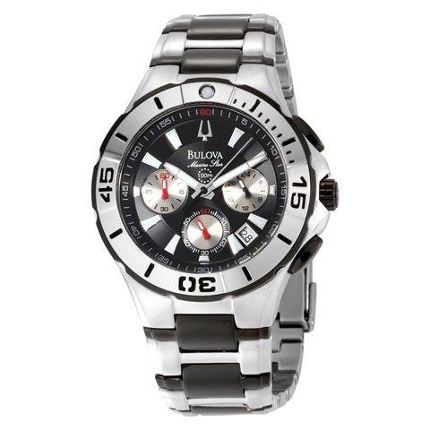 ブローバ 腕時計 マリンスター 98B013 ブラック×シルバー