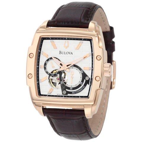 ブローバ 腕時計 BVAシリーズ 97A103 デュアルアパーチュア 自動巻き ホワイト×ブラウンレザーベルト