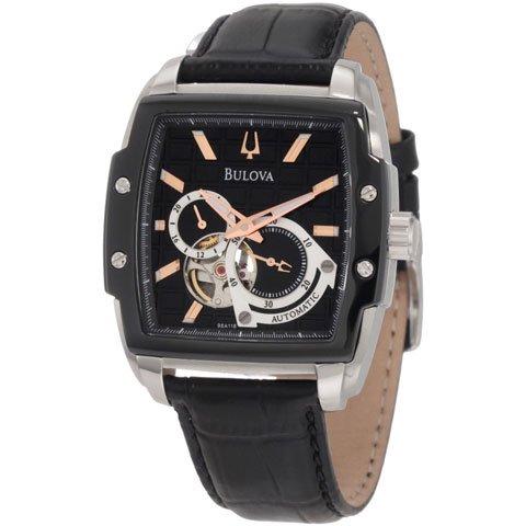 ブローバ 腕時計 BVAシリーズ 98A118 オートマチック ブラック×ブラックレザーベルト