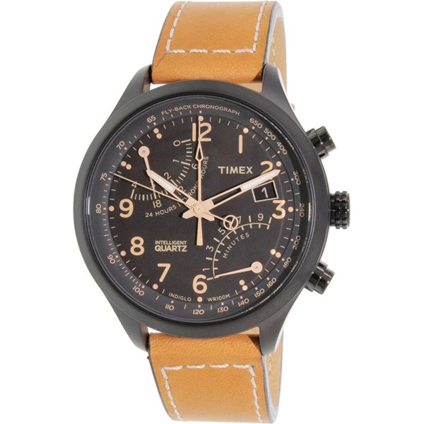 タイメックス 腕時計 インテリジェントクオーツ レーシングフライバック T2N700 ブラック×ブラウンレザーベルト