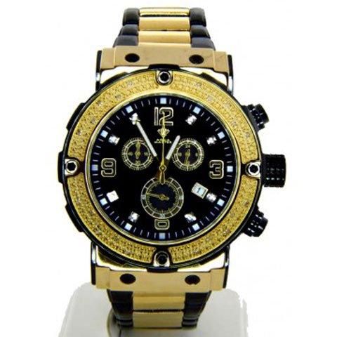 アクアマスター 腕時計  W146 ダイヤモンドウォッチ ブラック×ゴールド