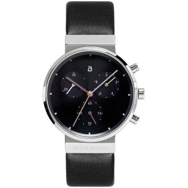 ヤコブ・イェンセン 腕時計 レディース 613 クロノグラフ ブラック