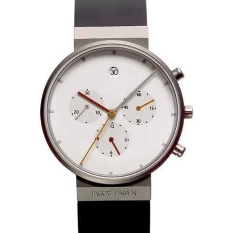 ヤコブ・イェンセン 腕時計 メンズ 601 クロノグラフ ホワイト