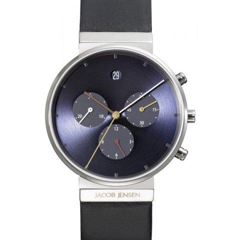 ヤコブ・イェンセン 腕時計 メンズ 605 クロノグラフ ブルー×ブラックラバーベルト