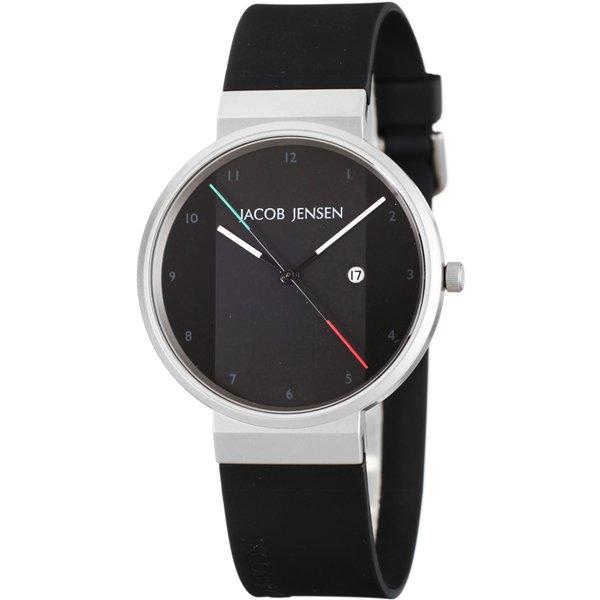 ヤコブ・イェンセン 腕時計 メンズ 732 ブラック×イタリアンカラー