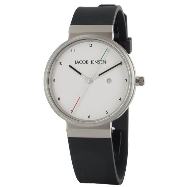 ヤコブ・イェンセン 腕時計 メンズ 733 ホワイト×イタリアンカラー