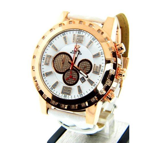 アクアマスター/Aqua Master 時計 W138 ダイヤモンドウォッチ ホワイトダイアル×ホワイトレザーベルト