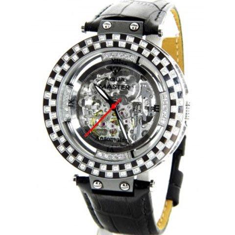 アクアマスター 腕時計 自動巻き W314 シルバー スケルトンダイヤル 1.25カラット