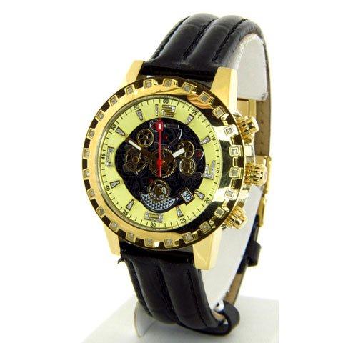 アクアマスター 腕時計 W151 ブラック×ゴールド×ブラックレザーベルト