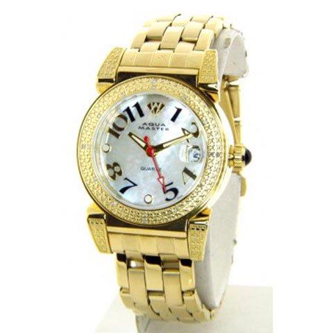 アクアマスター/Aqua Master 時計 レディース W88-J6 マザーオブパールダイアル×ゴールドステンレスベ…