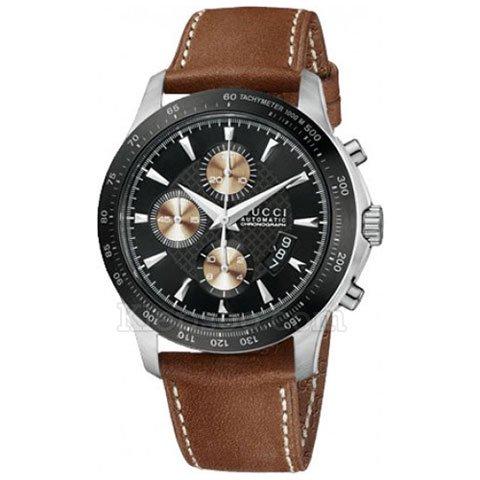 グッチ 腕時計 メンズ G-タイムレス YA126240 オートマティック クロノグラフ ブラック×ブラウンレザーベルト