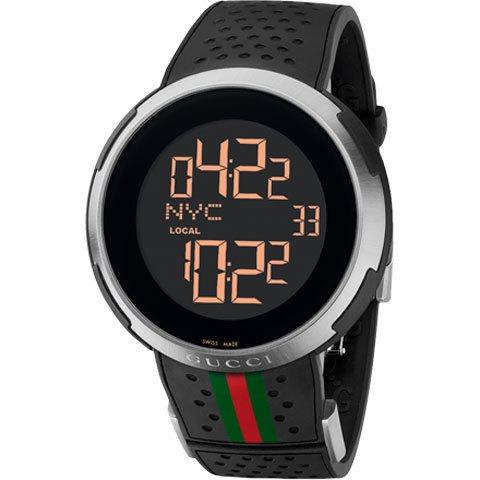 グッチ 腕時計 I-グッチ YA114103 デジタルウォッチ ブラックラバー