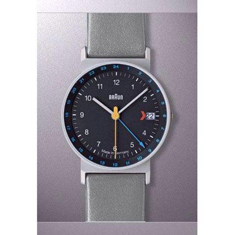 ブラウン Braun 時計/AW24/GMT/ブラック×グレーレザーベルト